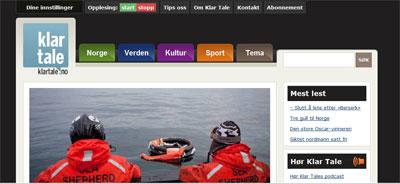 Klartale.no har som første avis integrert symboler på nettsiden